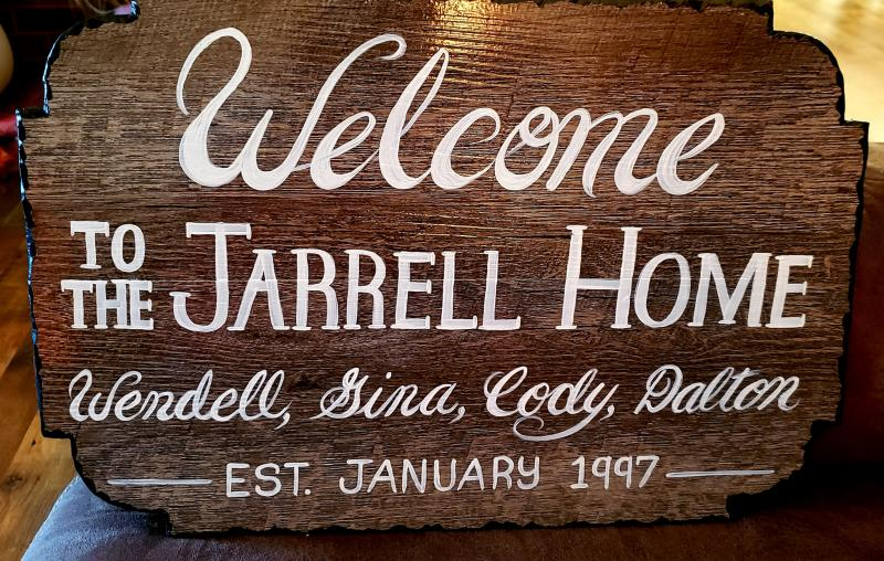 "Custom Established Sign, 12""x18"", Vynl and wood with chipped edge.  $45.00"